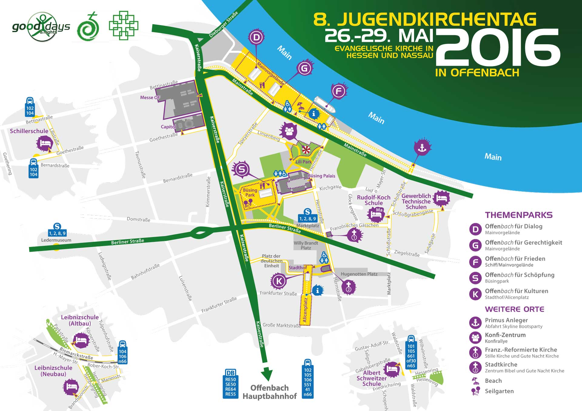 Orientierungskarte für die JUKT 2016 Offenbach | Go(o)d days & nights
