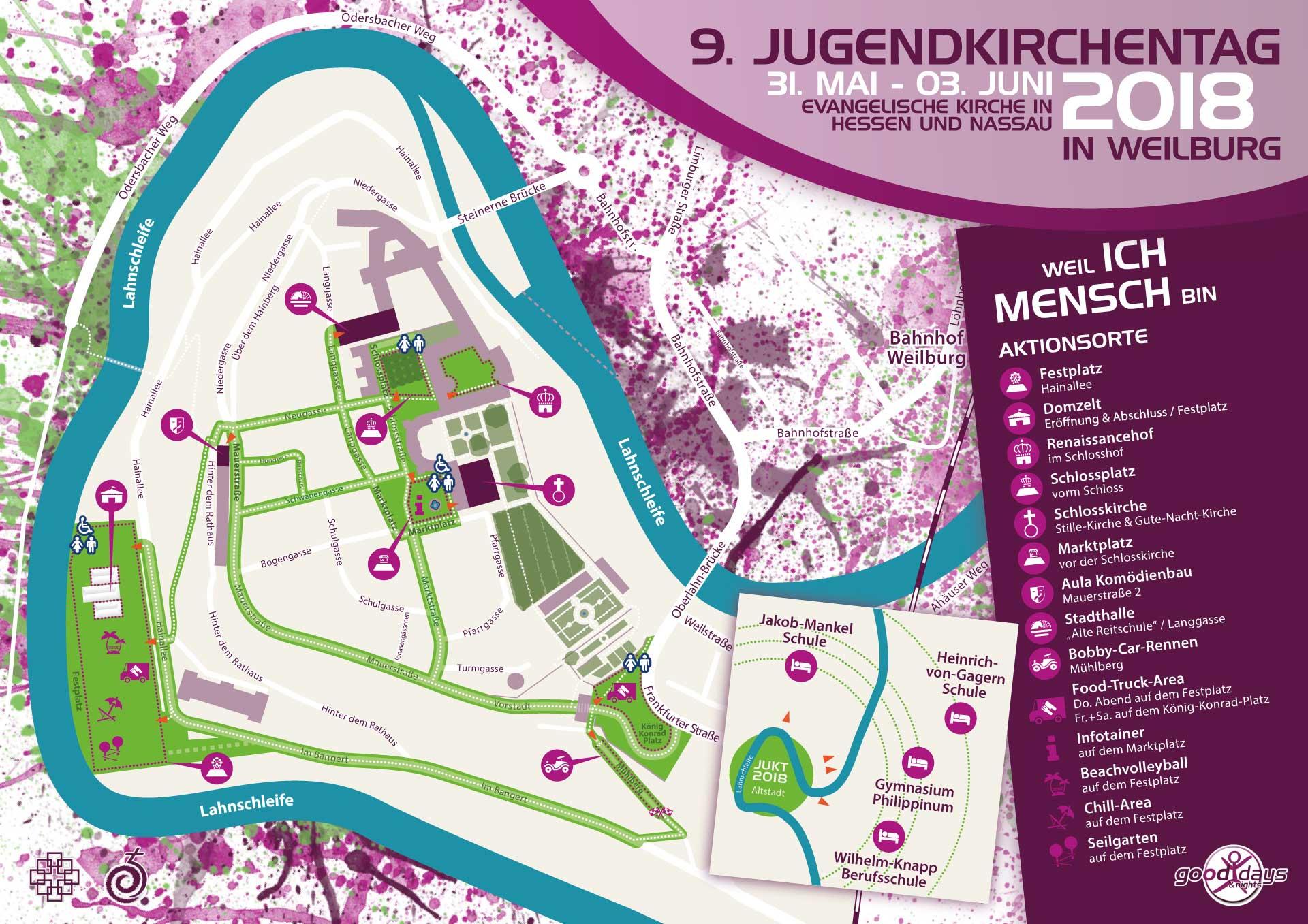 Orientierungskarte für die JUKT 2018 Weilburg | Go(o)d days & nights