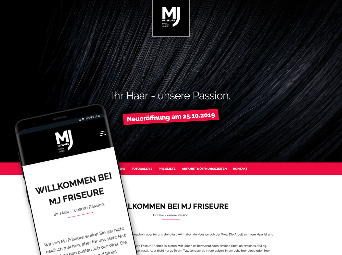 responsive Webseite - MJ Friseure